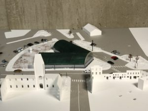 close up of site model with buildings