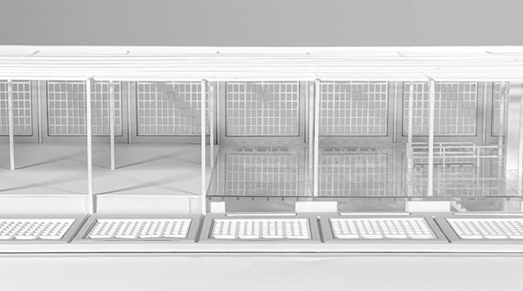 "1/4"" scale interior elevation of building with open wall"