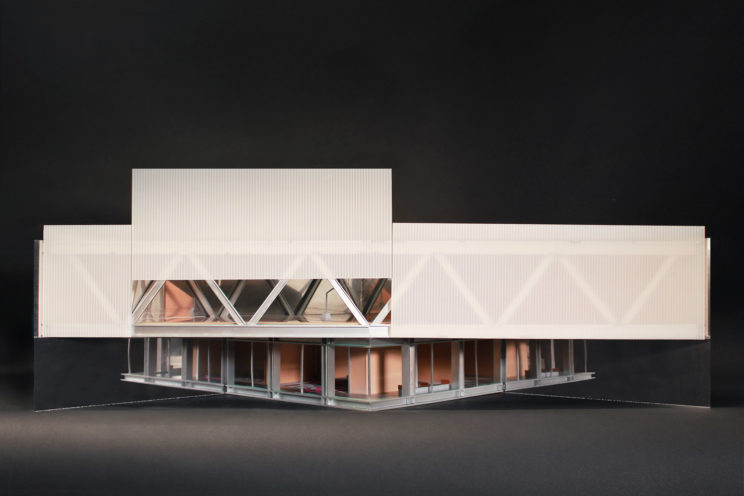 """1/4"""" scale model of a 1/4 of the building"""